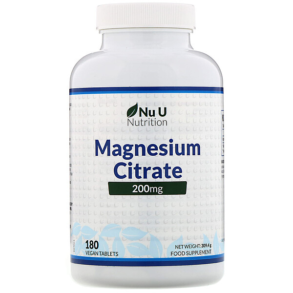 Magnesium Citrate, 200 mg, 180 Vegan Tablets