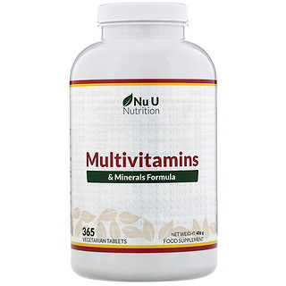 Nu U Nutrition, Multivitamins & Minerals Formula, Multivitamin- und Mineralienrezeptur, 365vegetarische Tabletten
