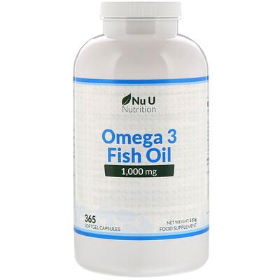 Nu U Nutrition рыбий жир с омега-3, 1000мг, 365капсул