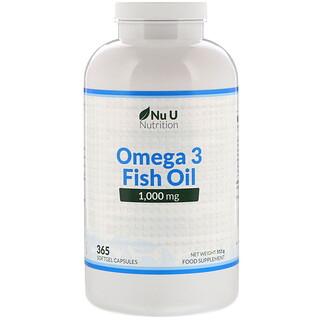 Nu U Nutrition, Omega 3 Fish Oil, 1,000 mg, 365 Softgel Capsules