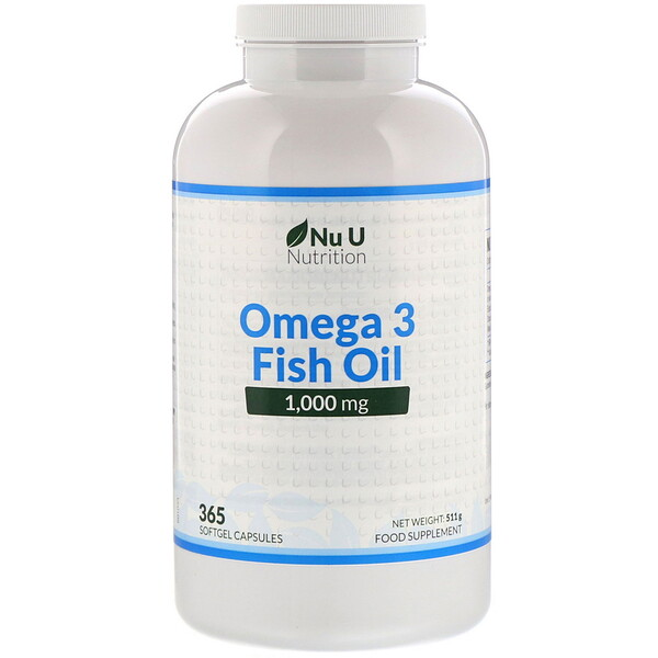Omega 3 Fish Oil, 1,000 mg, 365 Softgel Capsules
