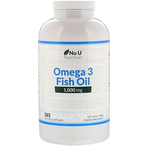 Nu U Nutrition, Omega 3 Fish Oil, 1,000 mg, 365 Softgel Capsules
