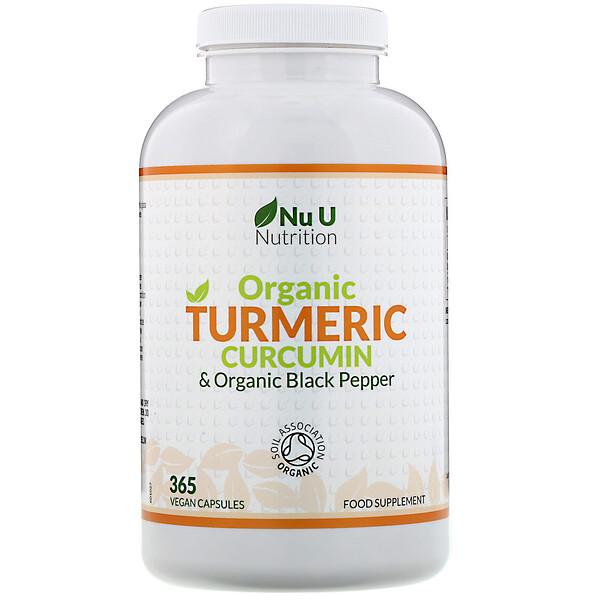Nu U Nutrition, כורכומין מכורכום אורגני ופלפל שחור אורגני, 365 כמוסות טבעוניות