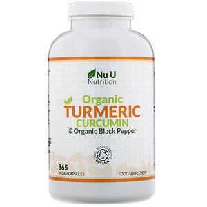 Nu U Nutrition, Organic Turmeric Curcumin & Organic Black Pepper, 365 Vegan Capsules отзывы покупателей