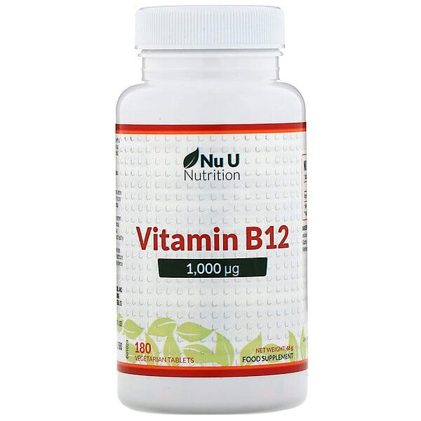 Nu U Nutrition, ビタミンB12、1,000µg、ベジタリアンタブレット180粒