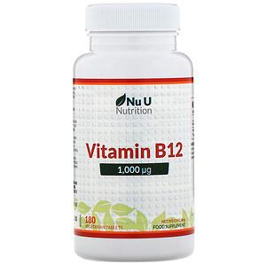 Nu U Nutrition, Vitamin B12, 1,000 µg, 180 Vegetarian Tablets отзывы
