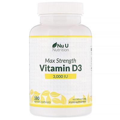 Купить Nu U Nutrition ВитаминD3 максимальной активности, 3000МЕ, 180мягких таблеток