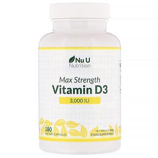 Nu U Nutrition, 峰值强度维生素 D3,3000 IU,180 粒软胶囊