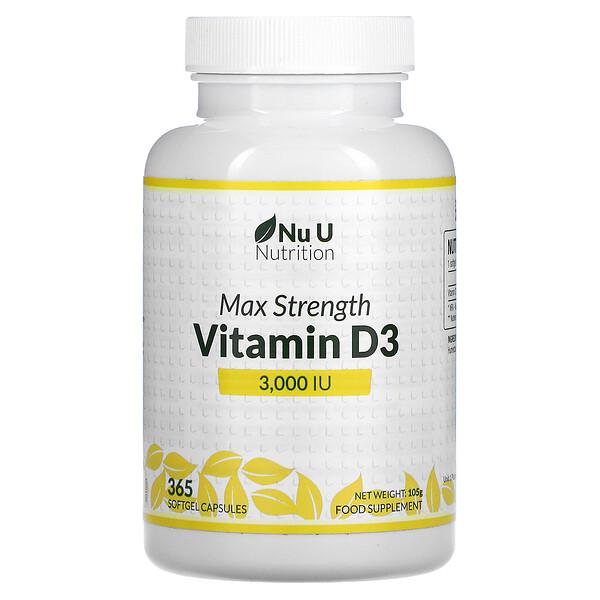 Max Strength Vitamin D3, 3,000 IU, 365 Softgel Capsules