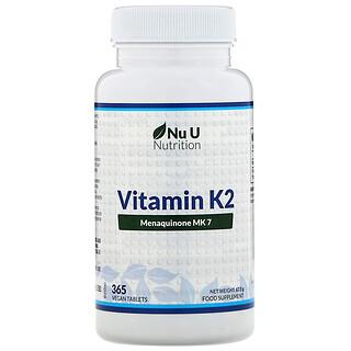 Nu U Nutrition, 维生素 K2,365 片纯素食片