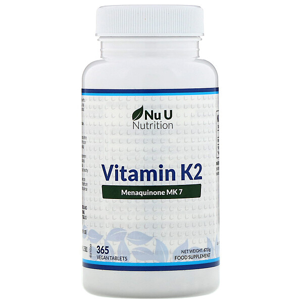 Nu U Nutrition, Vitamin K2, 365 Vegan Tablets