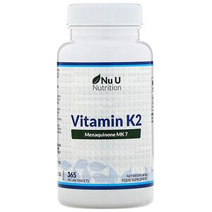 Nu U Nutrition, Vitamin K2, 365 Vegan Tablets отзывы покупателей