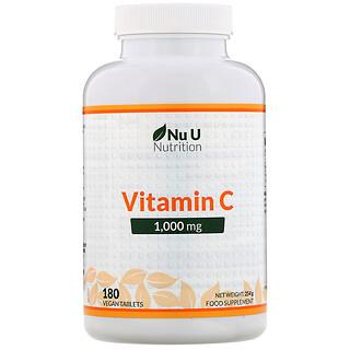 Nu U Nutrition, 维生素 C,1000 毫克,180 片纯素食片