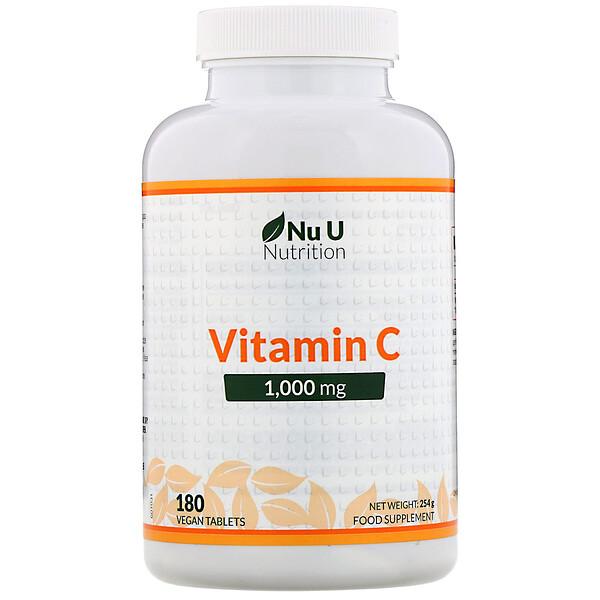 Nu U Nutrition, Vitamin C, 1,000 mg, 180 Vegan Tablets