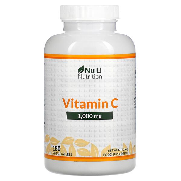 Nu U Nutrition, VitaminC, 1.000mg, 180vegane Tabletten