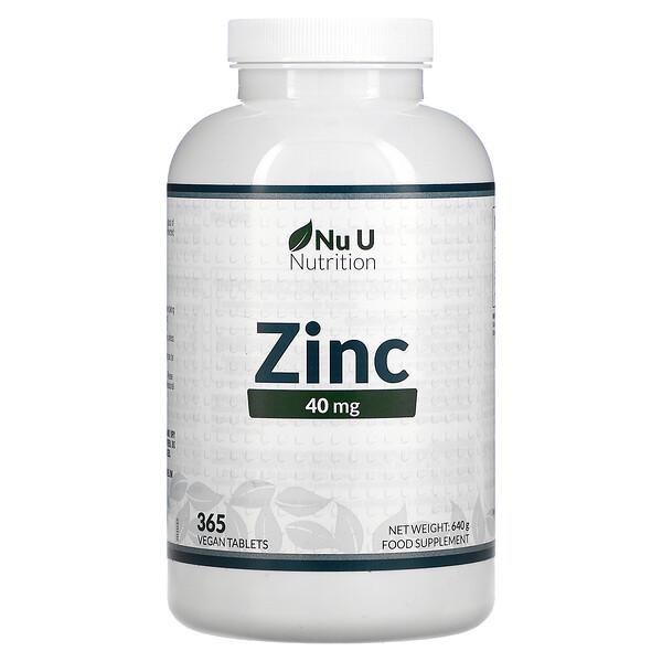 Nu U Nutrition, Zink, 40mg, 365vegane Tabletten