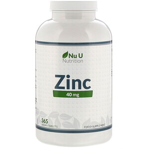 Nu U Nutrition, Zinc, 40 mg, 365 Vegan Tablets отзывы покупателей