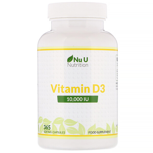 Nu U Nutrition, Vitamin D3, 10,000 IU, 365 Softgel Capsules