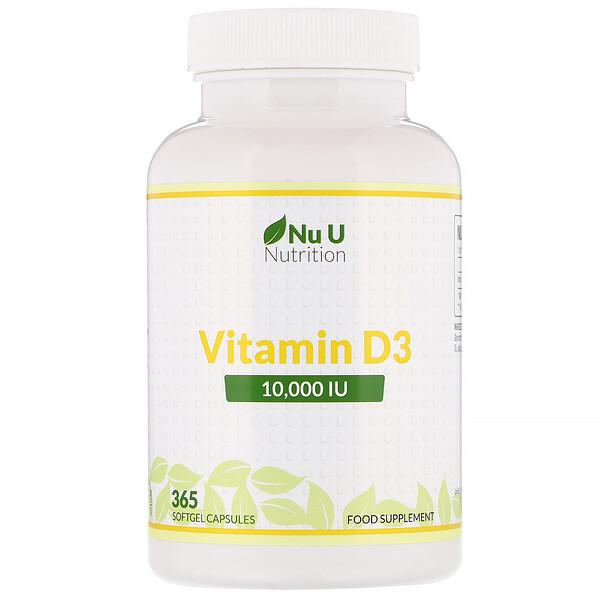 Nu U Nutrition, فيتامين د3، 10.000 وحدة نشاط انعكاسي، 365 كبسولة هلامية