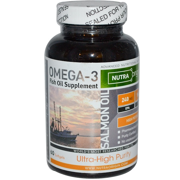 Nutra Origin, Salmon Oil, Omega-3 Fish Oil Supplement, 60 Softgels (Discontinued Item)
