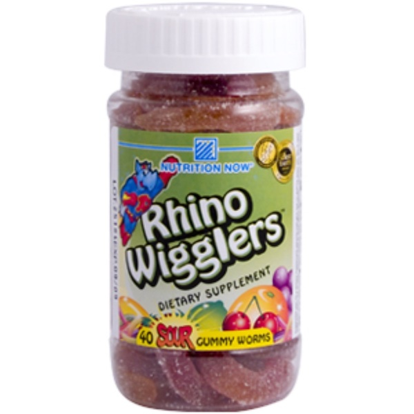 Nutrition Now, Rhino Wigglers, 40 Sour Gummy Worms (Discontinued Item)