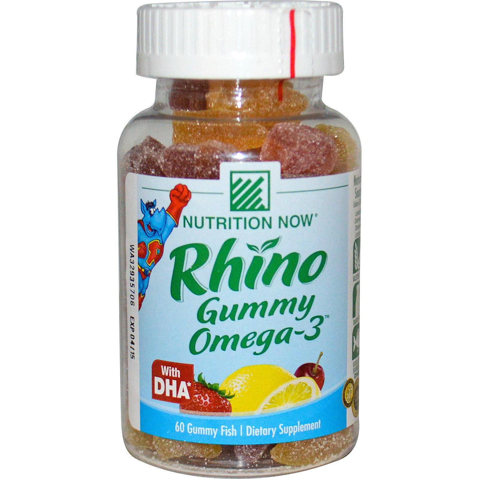 Nutrition Now, Rhino Gummy, Омега-3, с DHA, 60 желейных рыбок