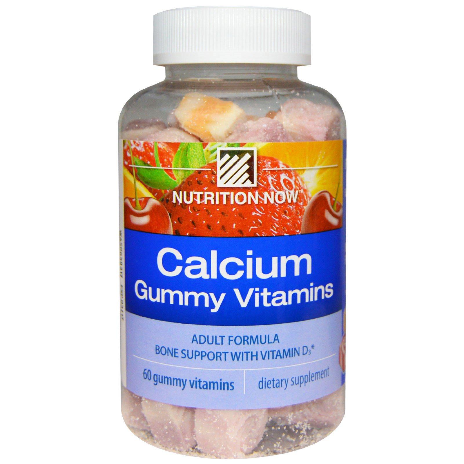 Nutrition Now, Жевательные витамины Кальций, формула для взрослых, апельсин, вишня и клубника, 60 жевательных витаминов