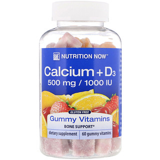 Nutrition Now, Calcium + D3 Gummy Vitamins, Orange, Cherry & Strawberry, 60 Gummy Vitamins