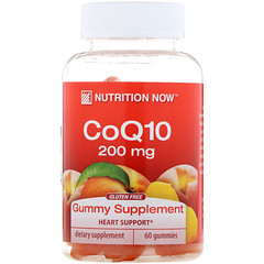 Nutrition Now, CoQ10, Natural Peach Flavor, 200 mg, 60 Gummies