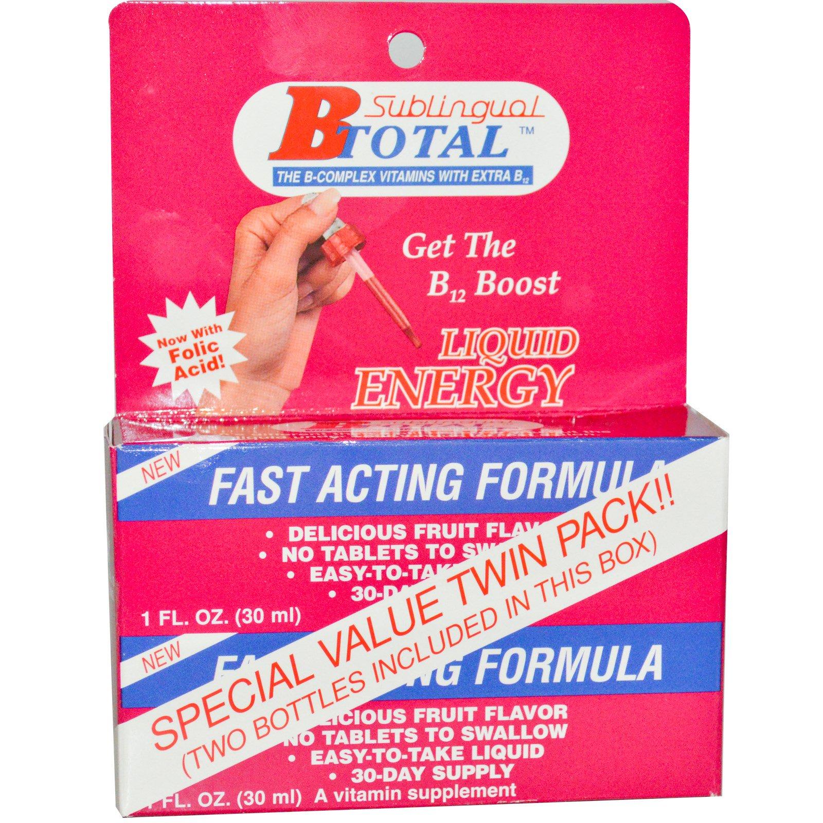 Nutraceutical Solutions, Inc, B Total, сублингвальное средство, двойная упаковка, 2 флакона, 1 жидкая унция (30 мл) каждый