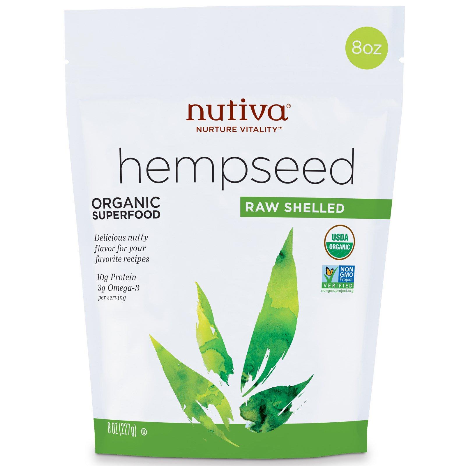 Nutiva Organic Hemp Seed Raw Shelled 8 Oz 227 G Iherb