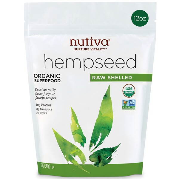 Organic Hemp Seed Raw Shelled, 12 oz (340 g)