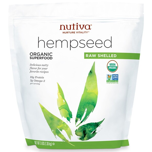 Organic Hemp Seed Raw Shelled, 3 lbs (1.36 kg)