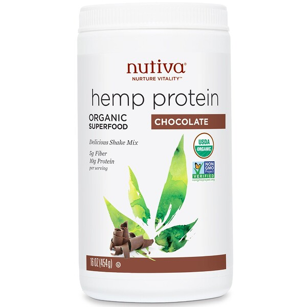 Nutiva, Organic Superfood, Hemp Protein Shake Mix, Chocolate, 16 oz (454 g)