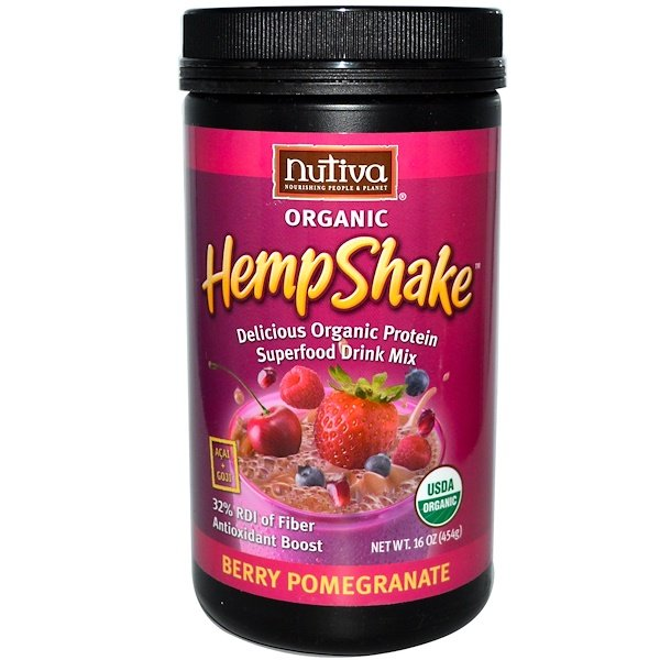 Nutiva, Organic HempShake, Berry Pomegranate, 16 oz (454 g) (Discontinued Item)