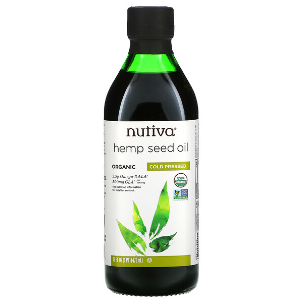 Organic Hemp Seed Oil, Cold Pressed, 16 fl oz (473 ml)