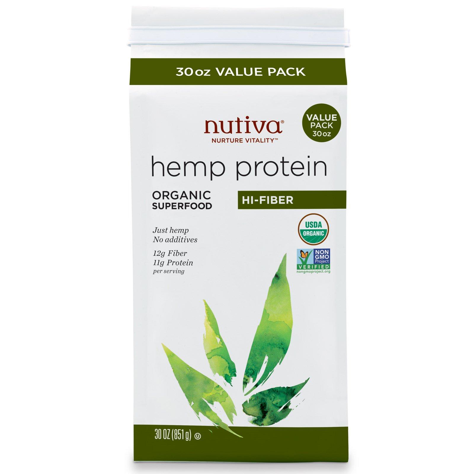 Nutiva, Органический конопляный белок, с высоким содержанием клетчатки, 30 унций (851 г)