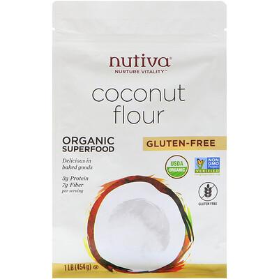 Купить Nutiva Органическая кокосовая мука, без глютена, 454г (1фунт)