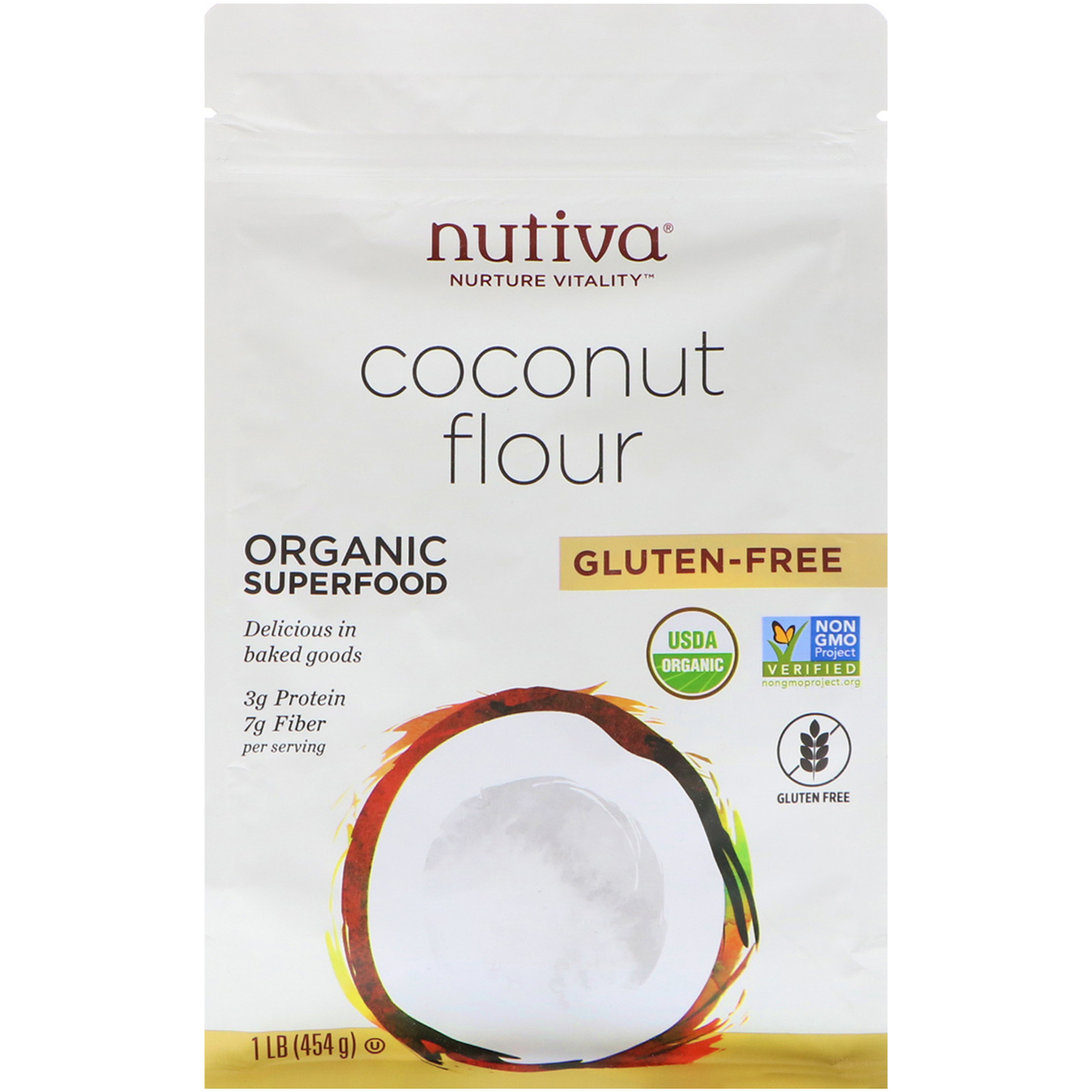 Nutiva, Органическая кокосовая мука, 454 г