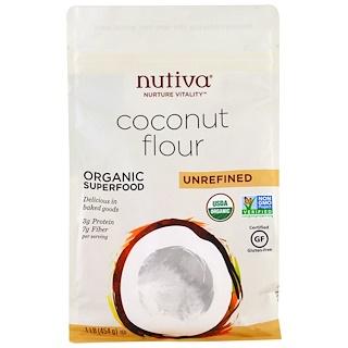 Nutiva, دقيق جوز الهند العضوي، غير منقّى، 1 رطل (454 جم)