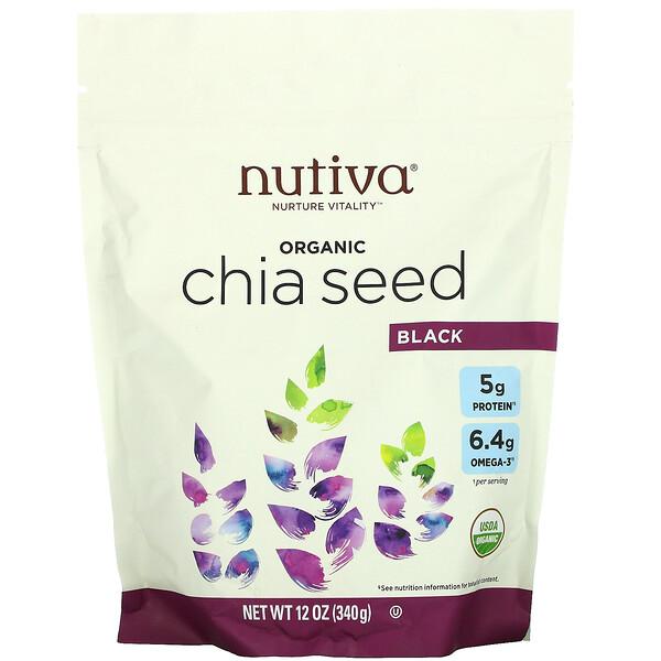 Органические семена чиа, черные, 340 г (12 унций)