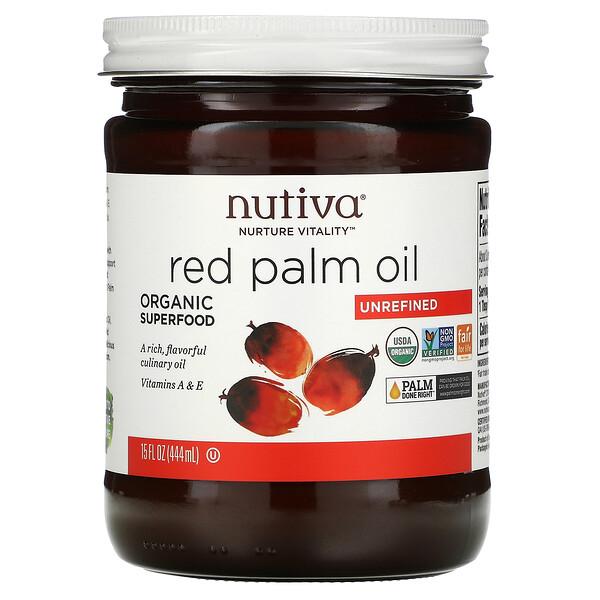 Nutiva, زيت النخيل الأحمر العضوي، خام، 15 أونصة سائلة(444 مل)