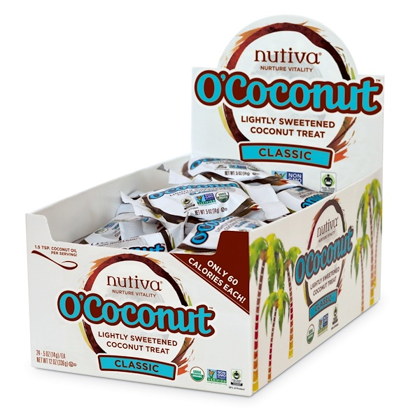 :Nutiva, O'Coconut, Lightly Sweetened Coconut Treat, Classic, 24 Pieces, 0、5 oz (14 g) Each