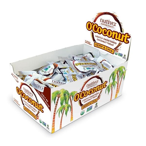 Nutiva, オー・ココナッツ™(O'Coconut), ほんのりと甘さをつけたココナッツのおやつ, ヘンプ & チア, 24個, 各 0.5 オンス (14 g) (Discontinued Item)