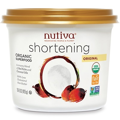 Nutiva Organic Shortening, Original, Red Palm and Coconut Oils, 15 oz (425 g)