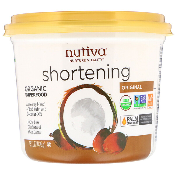 Nutiva, Organic Shortening, Original, Red Palm and Coconut Oils, 15 oz (425 g)