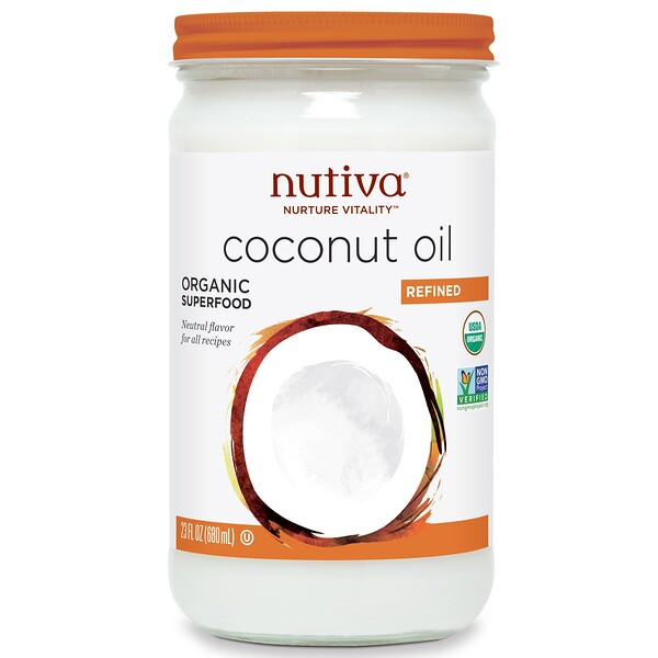 Nutiva, Organic Coconut Oil, Refined, 23 fl oz (680 ml)