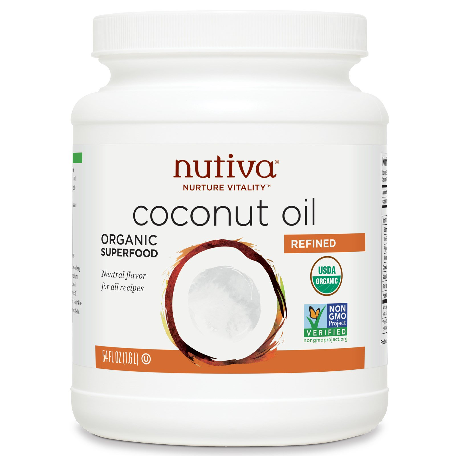 Nutiva, Organic Coconut Oil, Refined , 54 fl oz (1 6 l