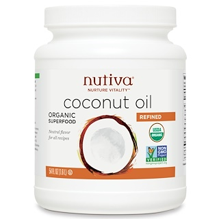 Nutiva, Organic Refined Coconut Oil, 54 fl oz (1.6 l)