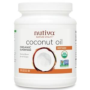 Нутива, Organic Coconut Oil, Refined , 54 fl oz (1.6 l) отзывы